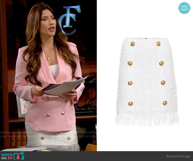 Balmain Tweed Miniskirt worn by Steffy Forrester (Jacqueline MacInnes Wood) on The Bold & the Beautiful