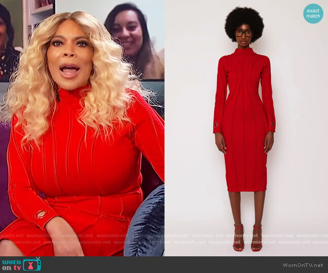 Red Piped Midi Dress by BBX Brand worn by Wendy Williams  on The Wendy Williams Show