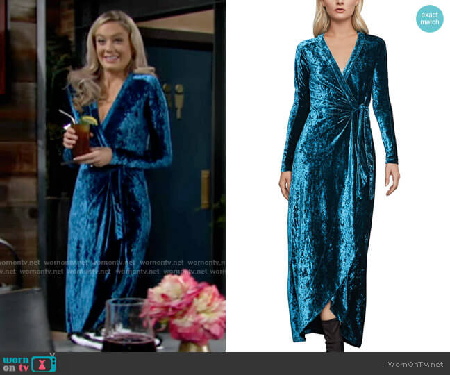 Bcbgmaxazria Velour Wrap Dress worn by Abby Newman (Melissa Ordway) on The Young & the Restless