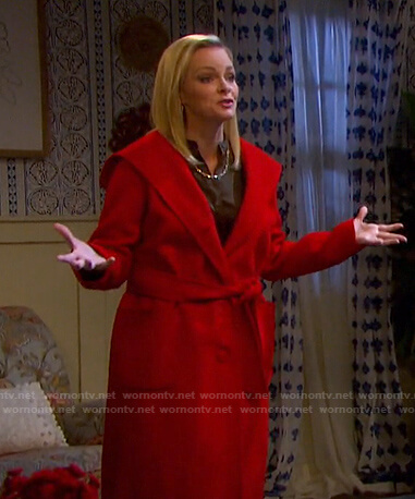 Belle's red hooded wrap coat on Days of our Lives