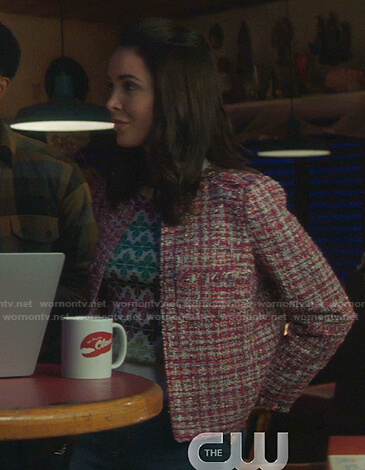 Bess's pink tweed jacket on Nancy Drew