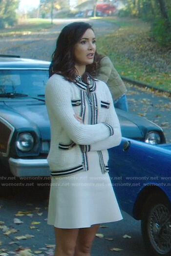 Bess's white half zip dress and knitted cardigan on Nancy Drew