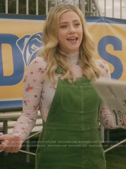 Betty's white floral top and corduroy dress on Riverdale