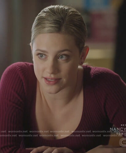 Betty's burgundy scoop neck sweater on Riverdale
