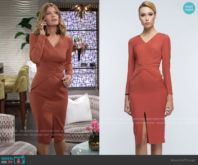 BGL Terracotta Midi Dress worn by Phyllis Summers (Michelle Stafford) on The Young & the Restless