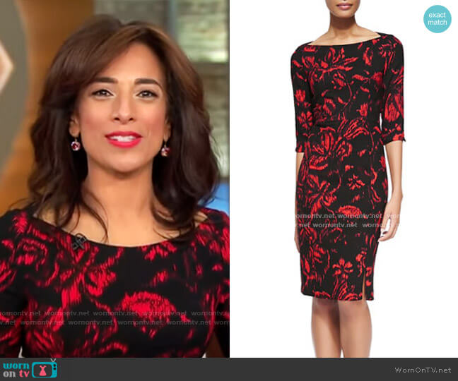 Black Halo Marissa Floral-Print Crepe Sheath Dress worn by Michelle Miller  on CBS This Morning