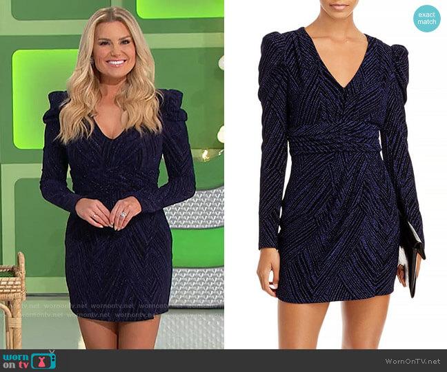 Aqua Puff Sleeve V-Neck Mini Dress worn by Rachel Reynolds  on The Price is Right