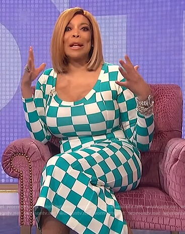 Wendy's checkerboard print dress on The Wendy Williams Show