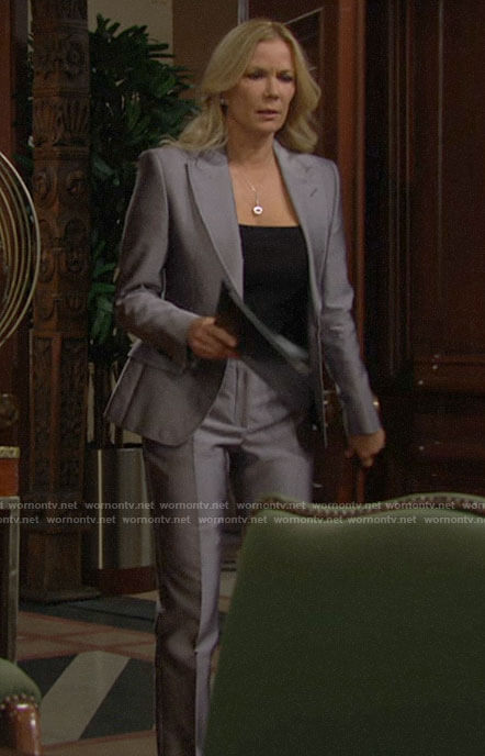 Brooke's grey suit on The Bold and the Beautiful