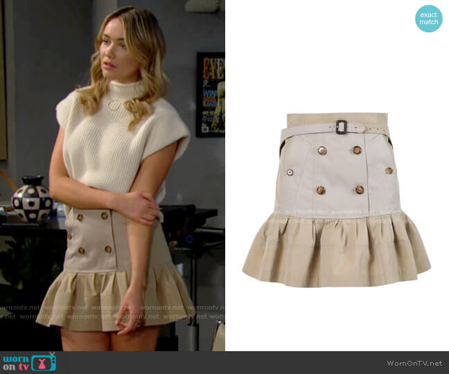Burberry Suzy Skirt worn by Flo Fulton (Katrina Bowden) on The Bold & the Beautiful