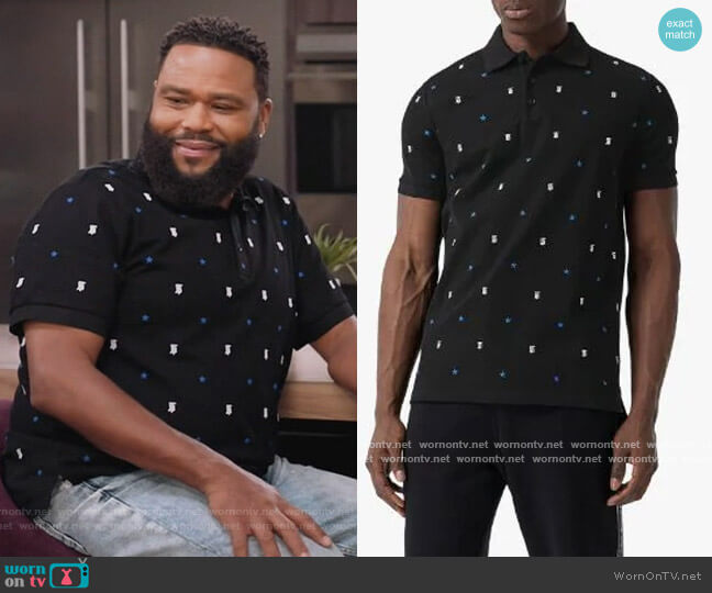 Monogram Motif Star Print Polo Shirt by Burberry worn by Andre Johnson (Anthony Anderson) on Blackish