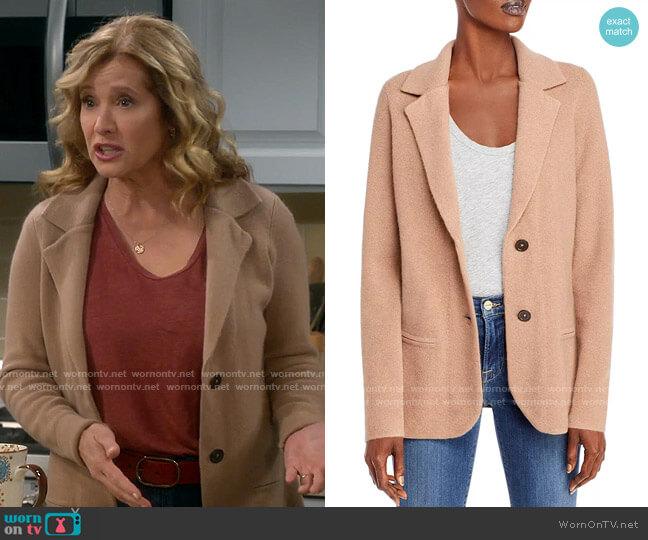 C by Bloomingdales Cashmere Sweater Blazer worn by Vanessa Baxter (Nancy Travis) on Last Man Standing