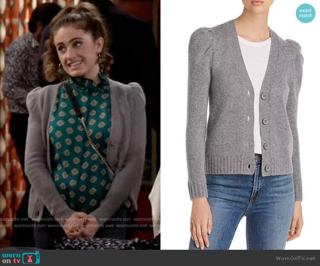 C by Bloomingdales Puff-Sleeve Cashmere Cardigan worn by Jackie Raines (Rachel Sennott) on Call Your Mother