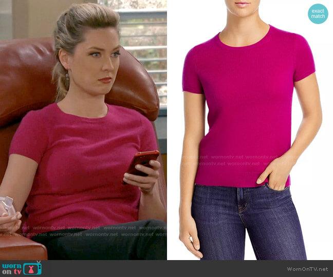 C by Bloomingdales Short-Sleeve Cashmere Sweater worn by Samantha (Briga Heelan) on B Positive