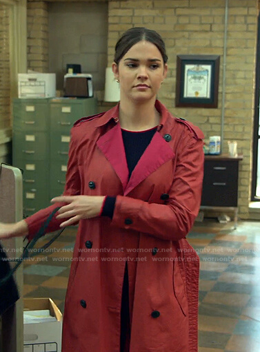 Callie's red trench coat on Good Trouble