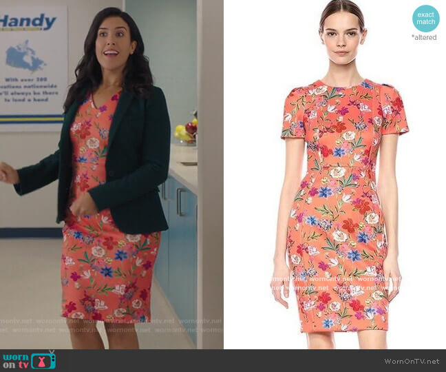Coral Floral Print Sheath Dress by Calvin Klein worn by Shannon Ross (Nicole Power) on Kims Convenience