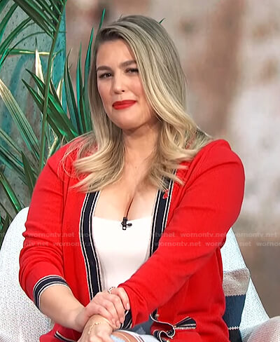 Carissa's red contrast trim long cardigan on E! News Daily Pop