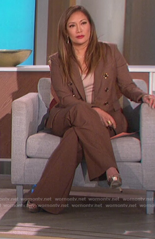 Carrie's brown check blazer and pants on The Talk