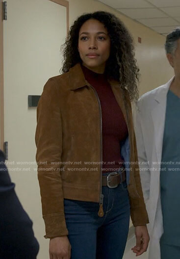 Cassie's tan suede jacket on Big Sky