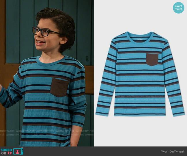 Striped Long Sleeve T-Shirt by Cat & Jack at Target worn by Matteo Silva (Raphael Alejandro) on Bunkd