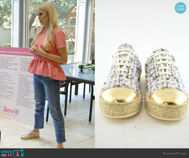 Tweed Low Cut Sneakers by Chanel worn by Kameron Westcott  on The Real Housewives of Dallas