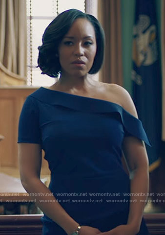 Charley's blue one-shoulder dress on Queen Sugar