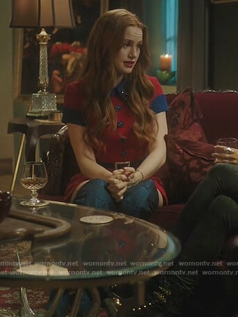 Cheryl's blue floral knee high boots on Riverdale