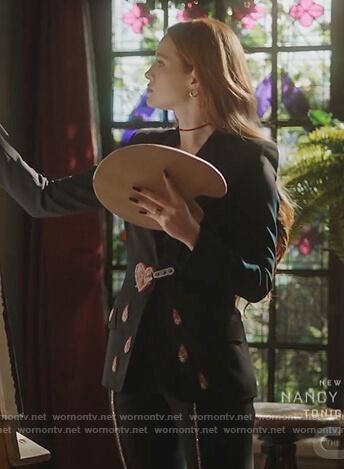 Cheryl's black heart embroidered blazer on Riverdale
