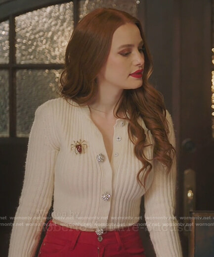 Cheryl's white button down sweater on Riverdale