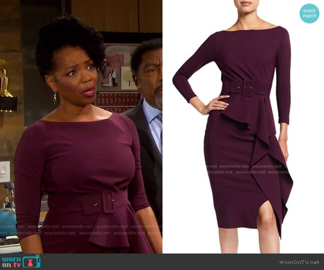 Afissa Boat-Neck Belted Ruffle Dress by Chiara Boni La Petite Robe worn by Valerie Grant (Vanessa Williams) on Days of our Lives