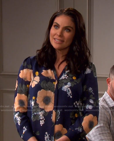 Chloe's blue floral blouse on Days of our Lives