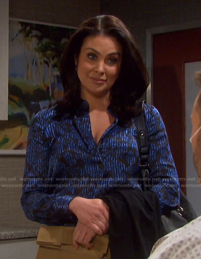 Chloe's blue floral striped blouse on Days of our Lives