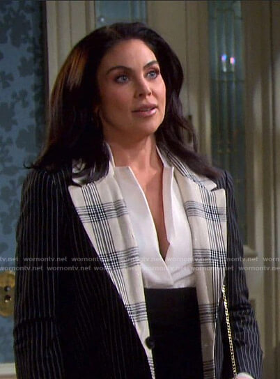 Chloe's pinstripe and plaid coat on Days of our Lives