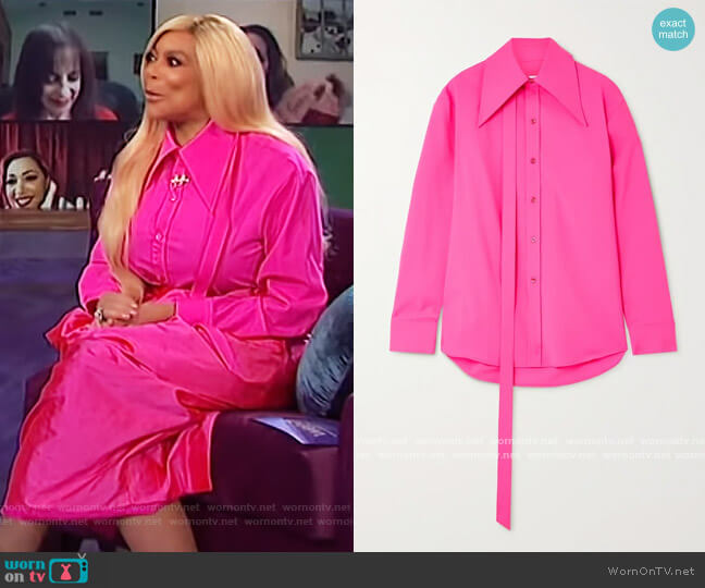 Tie-detailed neon wool-blend shirt by Christopher John Rogers worn by Wendy Williams  on The Wendy Williams Show