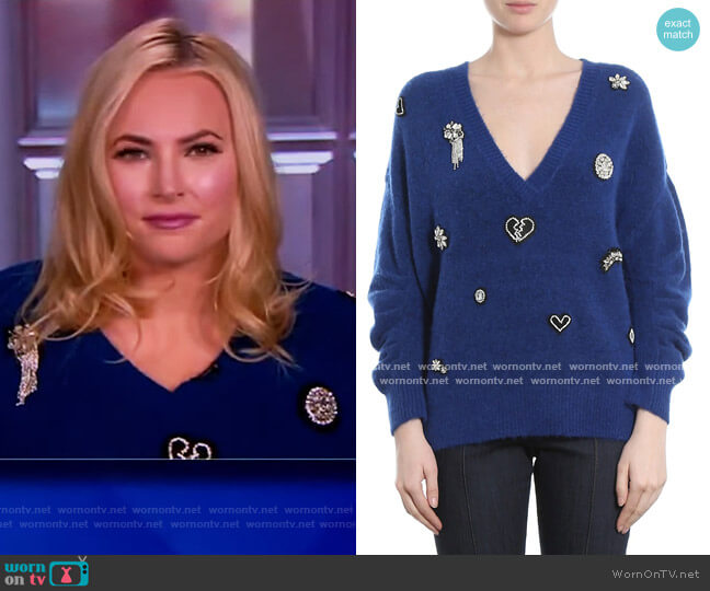 Kamila V-Neck Embellished Sweater by Cinq a Sept worn by Meghan McCain  on The View