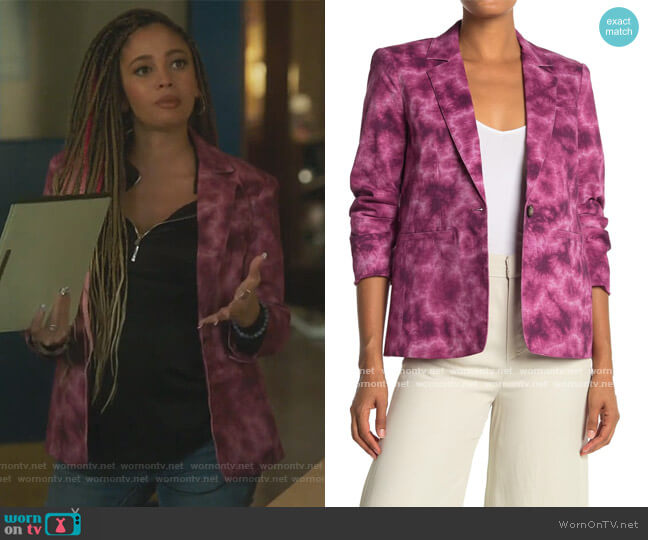 Khloe Tie-Dye Blazer by Cinq a Sept worn by Toni Topaz (Vanessa Morgan) on Riverdale