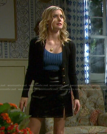 Claire's blue ribbed top and leather mini skirt on Days of our Lives