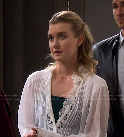 Claire's white lace-trim blouse on Days of our Lives