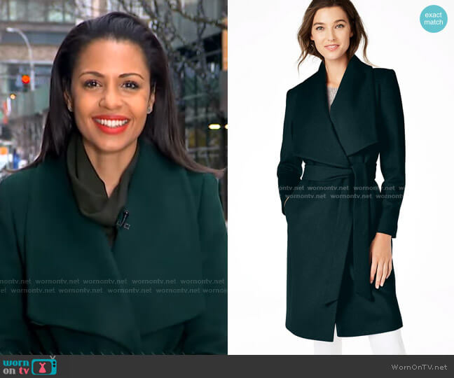 Slick Wool Blend Wrap Coat by Cole Haan worn by Adrienne Bankert  on Good Morning America