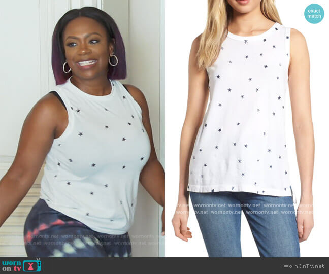The Muscle Tee Print Tank by Current Elliott worn by Kandi Burruss  on The Real Housewives of Atlanta
