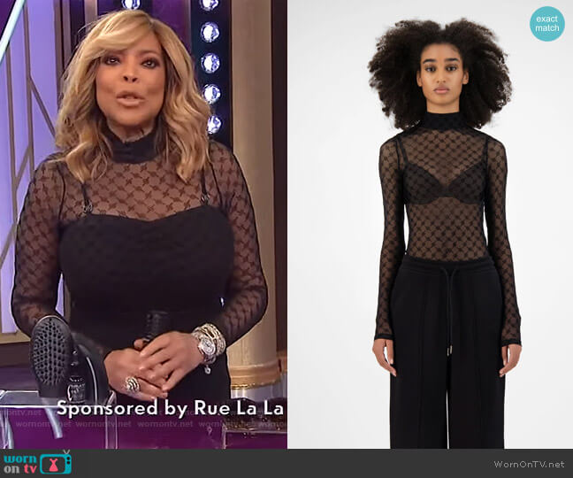 Black Monogram Hody Body by Daily Paper worn by Wendy Williams  on The Wendy Williams Show