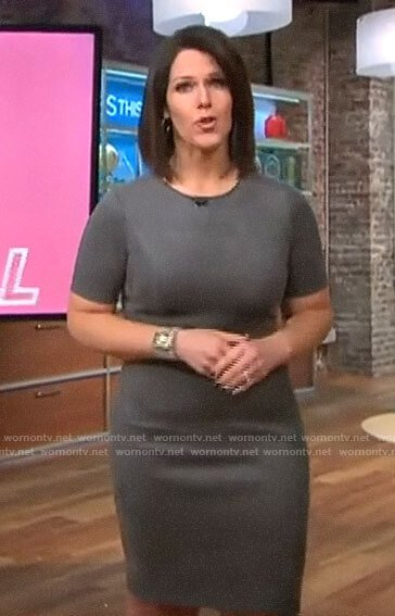 Dana Jacobson's grey suede dress on CBS This Morning