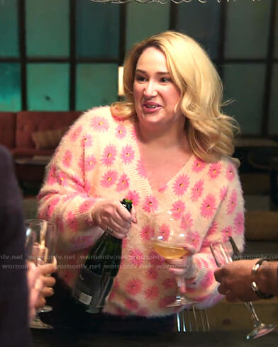 Davia's beige and pink floral v-neck sweater on Good Trouble