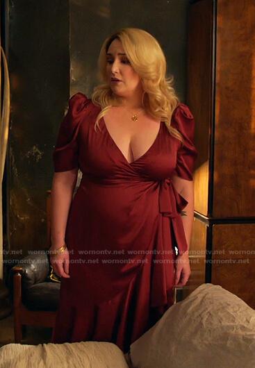Davia's red satin wrap dress on Good Trouble