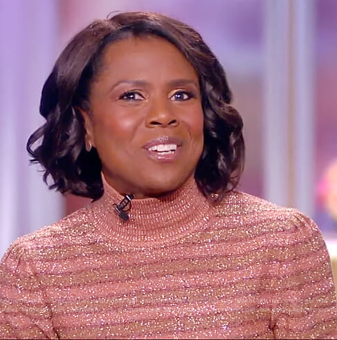Deborah Roberts's metallic striped turtleneck sweater on The View