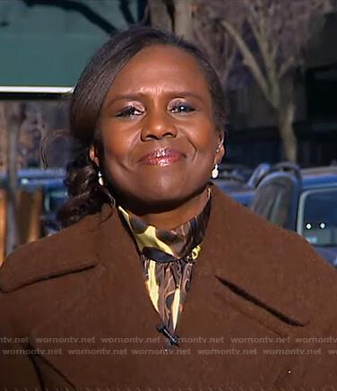 Deborah's yellow and brown printed blouse on Good Morning America