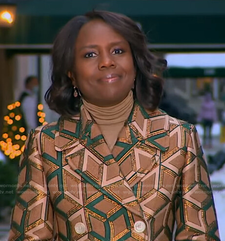 Deborah's metallic geometric coat on Good Morning America