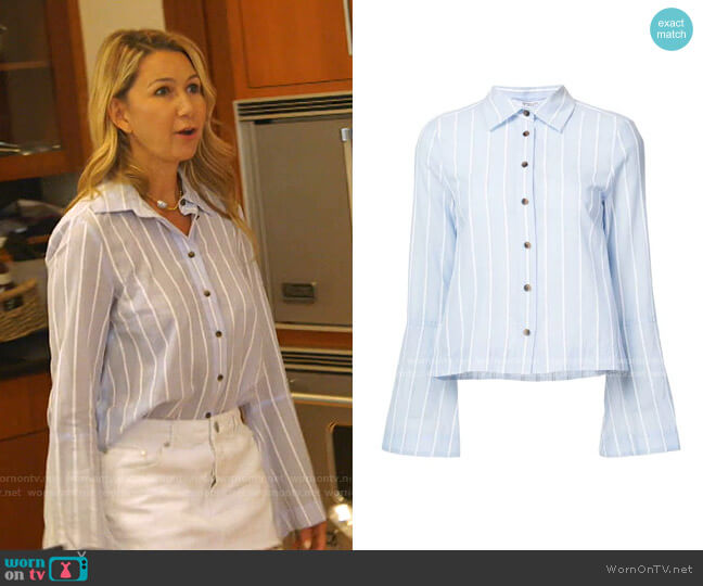Button Down Shirt by Derek Lam 10 Crosby worn by Kary Brittingham  on The Real Housewives of Dallas