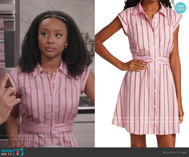 Cora Stripe Shirt Dress by Derek Lam 10 Crosby worn by Olivia Lockhart (Katlyn Nichol) on Blackish