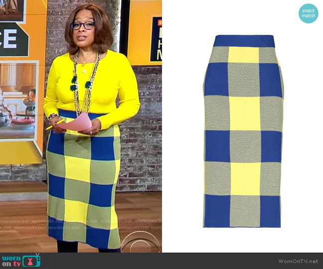 Derek Lam Buffalo Check Midi Skirt worn by Gayle King  on CBS This Morning